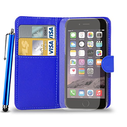 Apple iPhone 6S - Geldbörse aus Leder-Schlag-Fall-Abdeckungs-Beutel + Touch Stylus Pen + Screen Protector & Poliertuch (blau) Blue