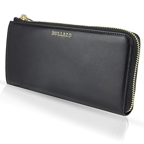 BULLAZO Galano Plaza, Edles XL Damenportemonnaie mit RFID Schutz, Leder, Schwarz - Plaza