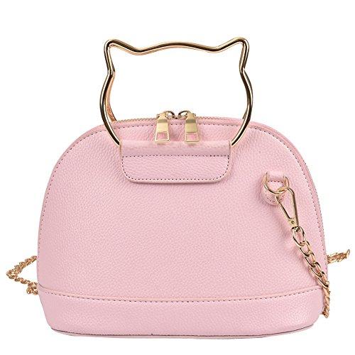 WTUS Damen Neue Shell Kette Kätzchen Bonbonfarbenen Rucksack Weibliche Beutel PU Volltonfarbe Umhängetasche Beuteltote Handtaschen Pink