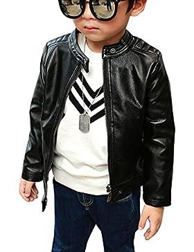 Niños Chaqueta De Cuero Sintético Ropa De Abrigo Cazadora Primavera Otoño Negro 110cm