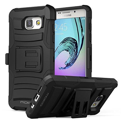 LG K7 Hülle - MoKo [Heavy Duty Serie] Outdoor Dual Layer Armor Case Handy Schutzhülle Schale Bumper mit Gürtelclip und Standfunktion mit Gürtelclip für LG K7 5 Zoll Smartphone 2015, Schwarz