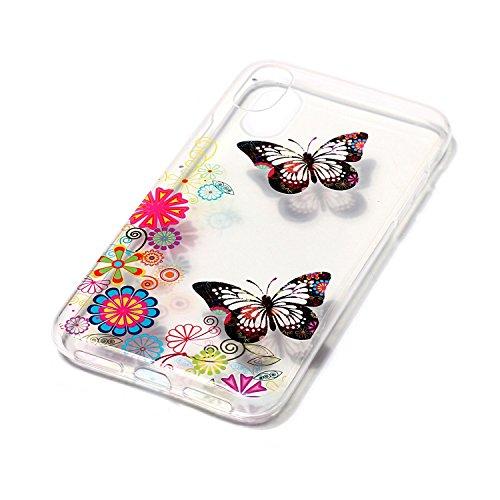 Custodia iPhone 8 Case Kcdream Fashion Moda Ultraslim TPU Transparent Caso Elegante Carina Souple Flessibile Morbido Silicone Copertura Perfetta Protezione Shell Paraurti Custodia Per iPhone 8 (5.8 Po Farfalla