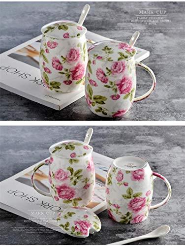 QYYDMKB Neueste Exquisite kreative Lustige 450 ml Floral Rose Blossom Malerei Bone China Minion Becher Keramik Thermische Becher Mit Löffel Blossom Bone China