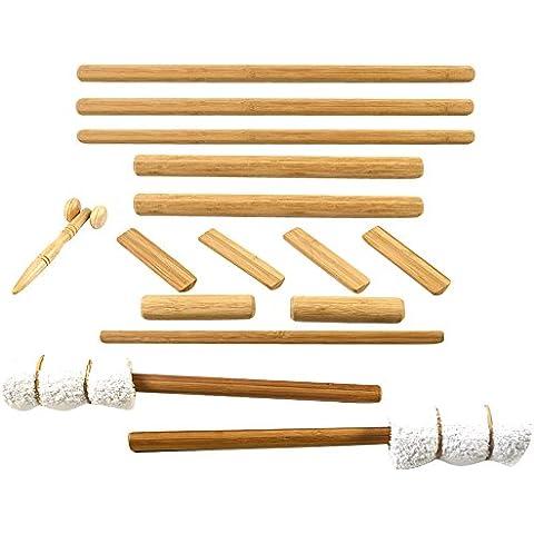 MassageByHeat bambù Massage Stick Set con rullo per massaggio facciale, confezione da 14pezzi
