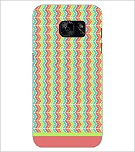 PrintDhaba Zig Zag Pattern D-1701 Back Case Cover for SAMSUNG GALAXY S7 (Multi-Coloured)