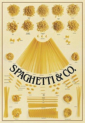 Co. Pasta, Nudeln Poster/Plakat - 55 Pastasorten mit Namen - 68 x 98 cm Großformat + Ü-Poster ()