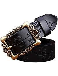 WANSGN Cinturones para Mujer Cinturones De Cuero Genuinos De Moda para  Mujeres Cinturón De Hebilla Floral 4124c3a80399