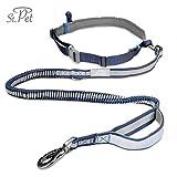 Jogging-Hunde-Leine | reflektierend, mit elastischem flexi Gurt | Kein Klackern durch verstärkte Faser Schlaufe | Bauchgurt zum Joggen | Handfrei-Leine | ST. PET (Blau)