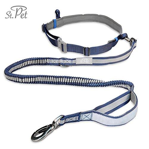 Joggingleine Hunde | reflektierend, mit elastischem flexi Gurt | Kein Klackern durch verstärkte Faser Schlaufe | Bauchgurt zum Joggen | Handfrei-Leine | ST. PET (Blau)