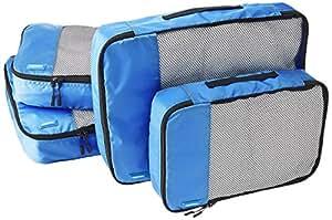 AmazonBasics Kleidertaschen-Set, 4-teilig, 2 mittelgroße und 2 große Kleidertaschen, Blau
