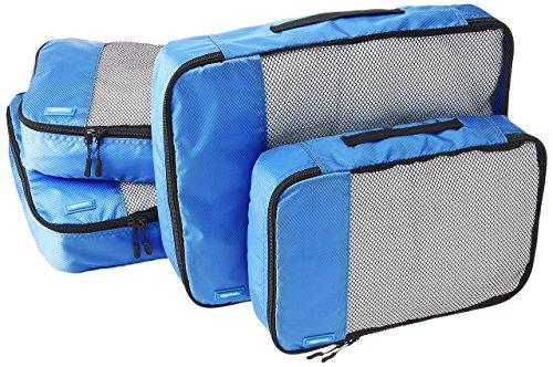 AmazonBasics Lot de 4 sacoches de rangement pour bagage 2 x Taille M/2 x Taille L, Bleu