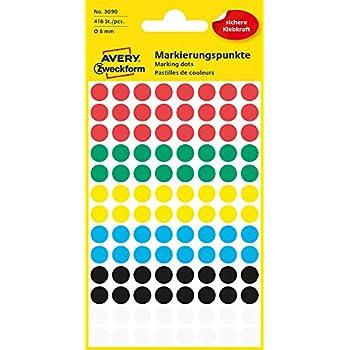 Avery Zweckform Markierungspunkte 18 mm 22 Blatt//1056 Etiketten gelb