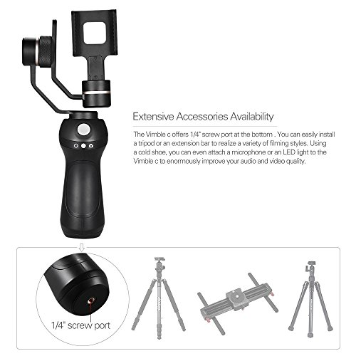 Feiyu Tech Vimble C With Face Tracking Panorama Shooting Dynamic Time-Lapse 3 Axis Handheld Stabilizer gamble for iPhone 7plus/iPhone 7/iPhone 6 plus /iPhone 6s /6/5 , Smartphones and Gopro Hero 5 black /4/3+/3 ,and similar size action camera + Tripod stand and carry bag (black)