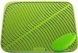 Große Silikon Geschirr Abtropfmatte, Abtropf Matte Halterung aus Topfuntersetzer wasserdicht Mit einer multifunktionalen Silikonbürste (17.5x13.8inch, Fruchtgrün)