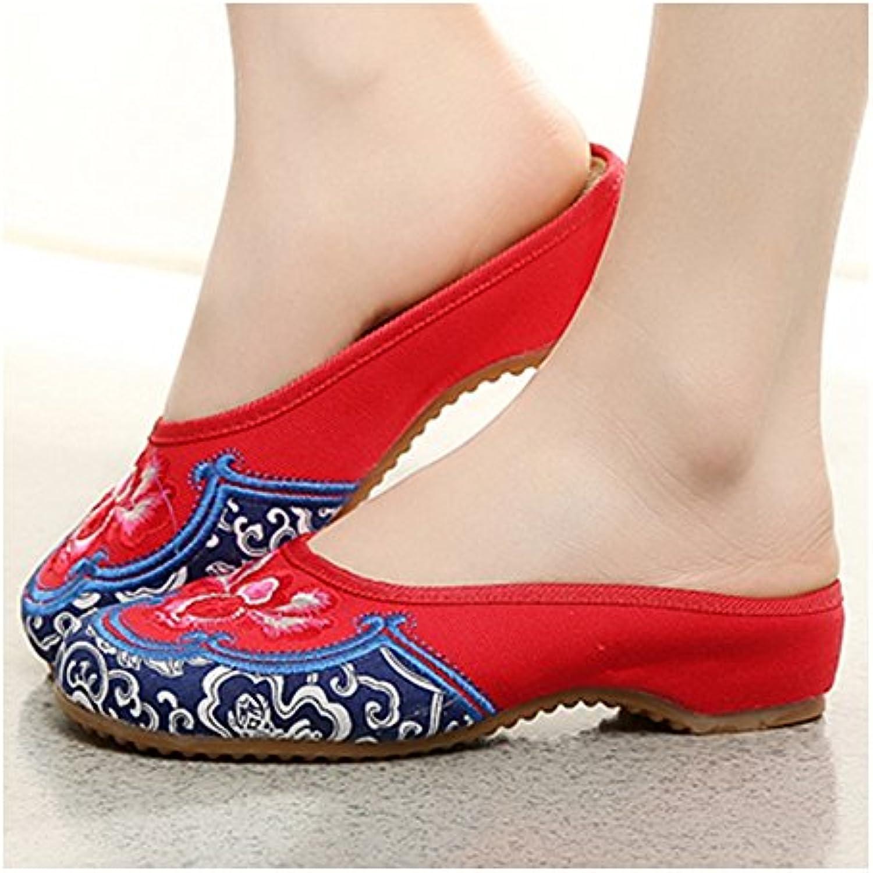 Bonitos y Elegantes Borde Azul Zapatos Bordados de Flores Rojo