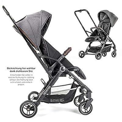 Hoco Buggy Reverse - leichter Kinderwagen mit umsetzbarer Sitzeinheit und Liegeposition | Blickrichtung wählbar, klein zusammenfaltbar - Grau Schwarz