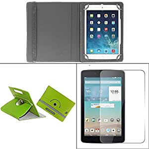 Gadget Decor (TM) PU LEATHER Rotating 360° Flip Case Cover With Stand For Swipe Legend Tablet - Green + Free Tempered Glass Toughened Glass Screen Protector