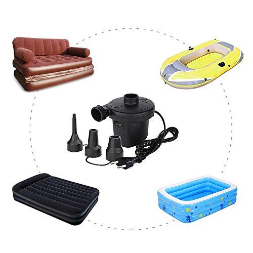 Cadrim Elektrische Luftpumpe,Elektropumpe inkl. 3 Aufsätze für Luftmatratzen, Schlauchboote, Gästebetten, aufblasbare Schwimmtiere oder Camping-Automatisches und schnelles Auf- und Abpumpen,150W 220V. -