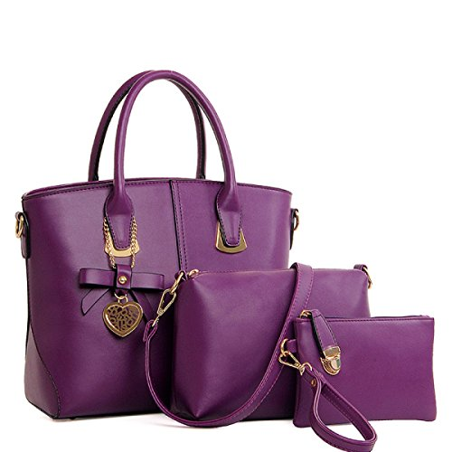 Frau Messenger Tasche Handtasche Schultertasche Dreiteiliger Bogen Purple