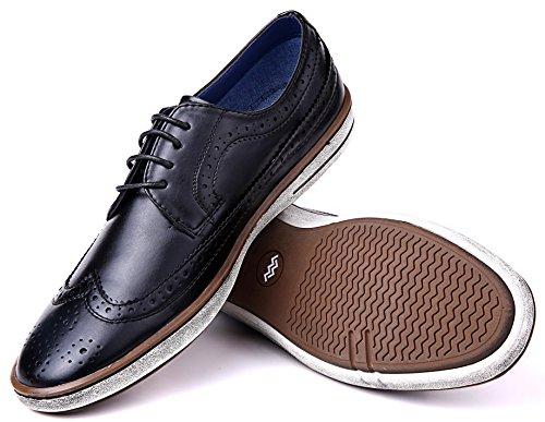 Mio Marino Herren Freizeitschuhe - Wingtip Brogue Business Fashion Oxford Schuhe für Herren, Schwarz (Wingtip Claviko Collection - Black), 41 EU (Oxford Wingtip Schwarz)