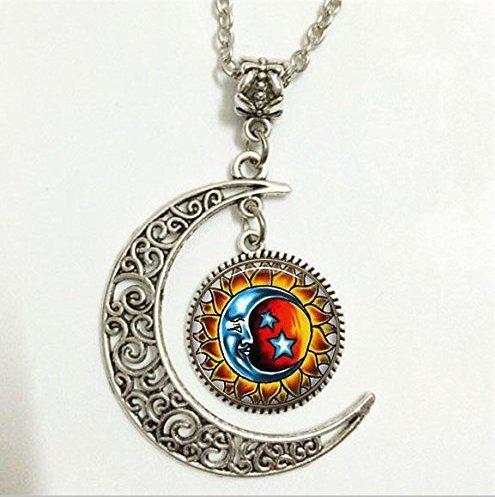 Sol y Luna Colgante, collar de sol y luna, sol y luna Moon joyas, luna collar cristal Art Picture