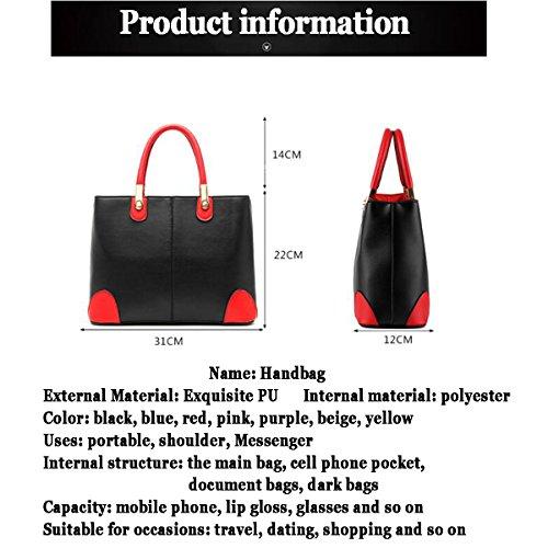 Bag Messenger Kapazität Leather WU Nähen Soft PU Red Farbe Hit Handtasche ZHI Frau Große Handtasche qaqIgX