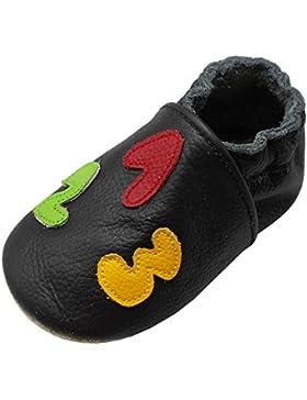 Yalion Baby Weiche Leder Lauflernschuhe Krabbelschuhe Hausschuhe Lederpuschen mit 123 und ABC in 3 Farben