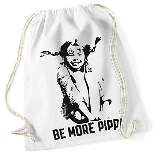 BE MORE PIPPI / 100% Baumwoll Turnbeutel mit Aufdruck und Motiv / Unisize, Onesize, Unisex / Ideales Geschenk / Rucksack, Beutel, Jutetasch, Jutebeutel / Hipster Fashion / vanVerden (White (Weiß)) (Gruppe Lustige Kostüme)