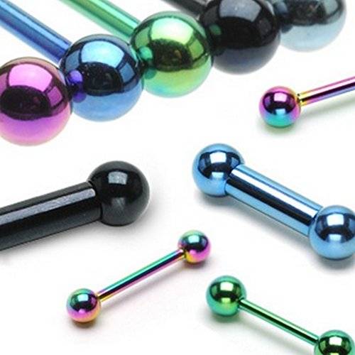 Lot de 10 Piercing industriel rainbow titane sur acier chirurgical 316L Taille 1,6 mm x 16 mm x 5 mm Bleu