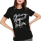 BLACKMYTH Mode Damen Sommer Lose T-shirt Schreiben Bedruckte Rundkragen lässige Baumwolle Tops Kurzarm Schwarz XX-Large