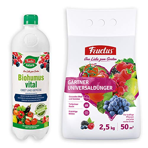 Fructus Biohumus Vital Obst und Gemüse 1 Liter & Fructus Gärtner Universaldünger 2,5 kg für alle Zimmerpflanzen, Balkonpflanzen, Terrassenpflanzen, perfekt für den Garten