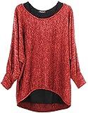 Emma & Giovanni - Damen Oversize Oberteile Tshirt/Pullover (2 Stück) (M/L, Rot)