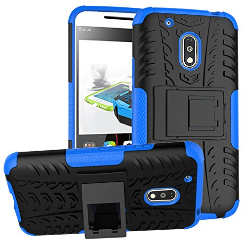 ImagineDesign™ Defender Tough Hybrid Armour Shockproof Hard PC + TPU with Kick Stand Rugged Back Case Cover for Moto G Plus 4th Gen ( G4 Plus / G 4th Generation ) - Blue