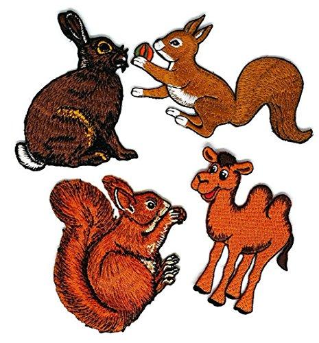 Set 4Tier Kaninchen Eichhörnchen Camel bestickt Nähen Eisen auf Patch Cartoon Nähen Eisen auf bestickte Applikation Craft handgefertigt Baby Kid Girl Frauen Tücher DIY Kostüm Zubehör