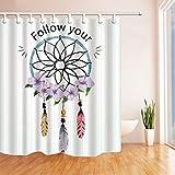 YuLl Minimalistische Kreative Folgen Sie Duschvorhang Badezimmer Wasserdicht Mildew-Proof Vorhänge Hängenden Vorhang mit 12 Haken 100% Polyester W180*H 200 cm