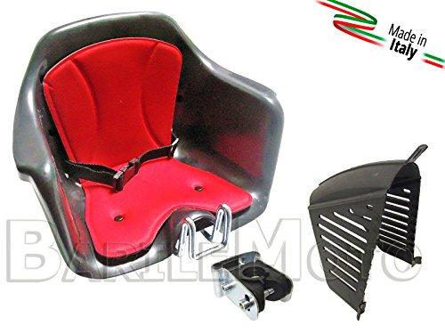 Seggiolino Anteriore Bici Attacco Manubrio Nero / Rosso + Protezione HTP MILU'