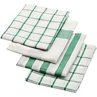 IKEA ELLY - Toalla de té, blanco, verde / 4 pack / 4 Pack