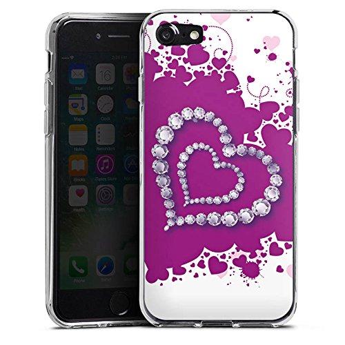 Apple iPhone X Silikon Hülle Case Schutzhülle Herz Liebe Love Silikon Case transparent