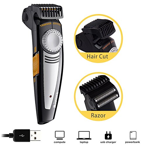 Herren Kahlhaar Rasierer, USB Wiederaufladbare und Cordless Stubble Moustache Rasierer Grooming Kit mit 9 Länge verstellbarem Kamm für ()