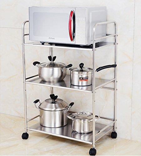 Cocina de acero inoxidable horno de microondas estantería piso multi-plataforma horno estante de almacenamiento engrosamiento ( Tamaño : 61*37*85cm )