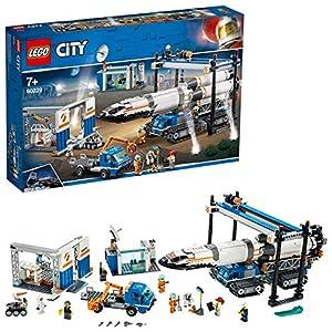 LEGO City Space - Ensamblaje y Transporte del Cohete, Juguete de Nave Espacial de Construcción Inspirado en la NASA con Vehículos y Astronautas para Niños y Niñas a Partir de 7 Años (60229)