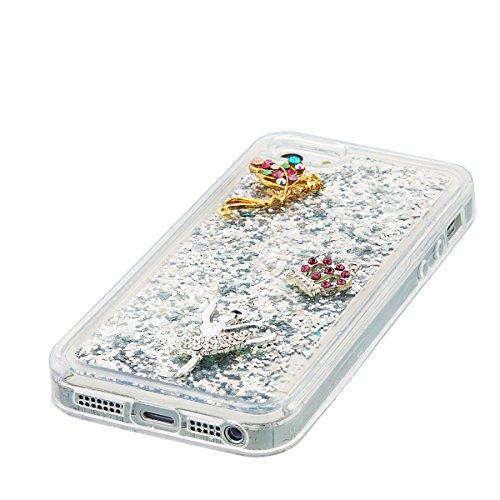 iPhone 5S Hülle, iPhone SE Hülle, Gift_Source [ Lila Bär ] Transparent Weiche Silikon Schutzhülle TPU Bumper Case Schutz Handy Hülle Case, Creative 3D strom flüssiger durchdrungen von glitzer und ster E1-Silber & Crown Angel
