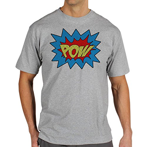 Batman Pow Yellow Background Herren T-Shirt Grau