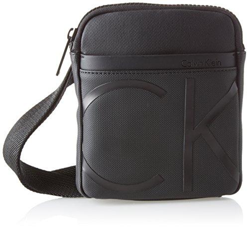 Calvin Klein Herren Raised Logo Mini Flat Crossover Schultertasche, Schwarz (Black), 3x19x16 cm