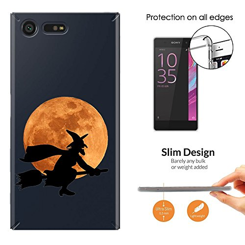 Witch On Broom Stick Halloween Character Full Moon Silhouette Design Sony Xperia X Compact Fashion Trend Leichtgewicht Hülle Ultra Slim 0.3MM Kunststoff Case Protection Hülle (Scary Halloween-silhouetten)