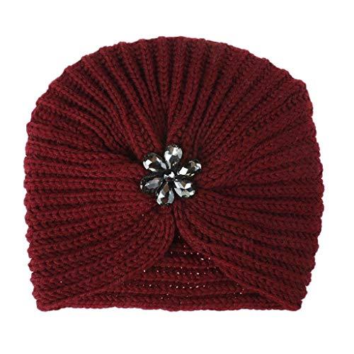 ziYOU hat Frauen Mädchen halten Winter einfarbig warme Kristallblume gestrickte Wolle Hemming Cap Ski Hat(18cm X 20cm, - Marco Polo Kostüm Kinder
