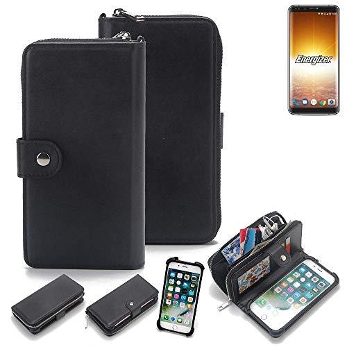 K-S-Trade 2in1 Handyhülle für Energizer P600S Schutzhülle & Portemonnee Schutzhülle Tasche Handytasche Case Etui Geldbörse Wallet Bookstyle Hülle schwarz (1x)