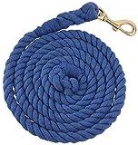 Baumwolle Pferd Führstrick 2,5m–Messing Snap, blau