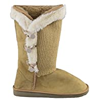 Womens Flat Winter Boots Mid Calf Slip On Snow Boots