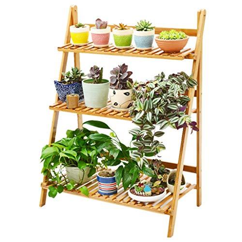 Blumenregal Blumentreppe, 3 Tier Holz Pflanze Steht - Faltbare Blume Display Regal Leiter für Indoor Outdoor Garten Hof Dekor